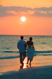 Wedding couple on beach at sunset florida by Jack Elka